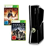 Xbox 360 - Konsole Slim 250 GB inkl. Halo: Reach + Fable III (Limited Edition),schwarz-glänzend
