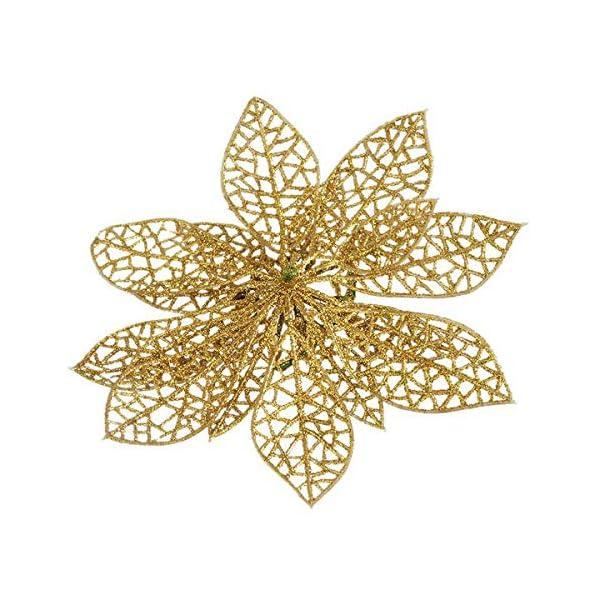 Zeagro – Adornos para árbol de Navidad (10 Unidades, 13 cm), diseño de Flor de Pascua de Pascua de Oro y Flor de Pascua…
