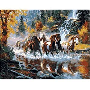 Running Horse DIY Oil Painting By Numbers Digital Oil Painting Kits Frameless Canvas Wall Decor Gift 40x50cm
