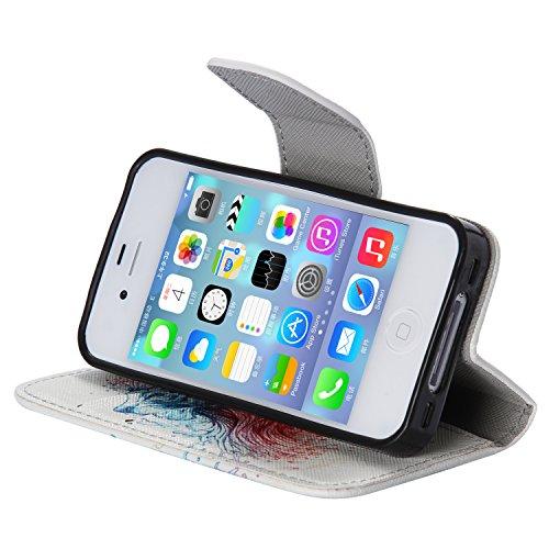 Meet de Anchor gouvernail Folio Leather téléphones portables Housse Case sac pour Apple iPhone 5S / iphone SE,Case Cover en cuir pour Apple iPhone 5S / iphone SE étui en cuir PU Handy Wallet | Tongues Lionhead