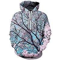 Ocean Plus Heren Kleurrijke Hoodie Pulli met capuchon Unisex capuchon met digitale print en trekkoord lange mouwen sweatshirt met voorzakken