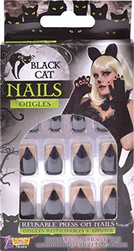 Halloween Nägel Kostüm Katze - Damen Party Kostüm Zubehör Halloween schwarze Katze Nägel Ongles