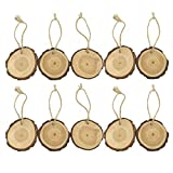 Kingko® 10pcs Holz Weihnachtsbaum Hängende Verzierung für Geschenkanhänger, rustikale Hochzeitsdekoration, Namens- oder Weihnachtsanhänger, Tischnummern und usw (Khaki)