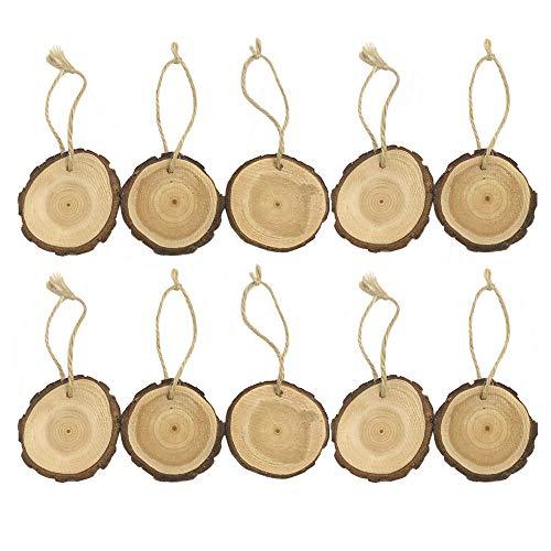 Prevently 10 Stücke Holz Weihnachtsbaum Hängende Verzierung Holz Scheiben DIY Kunsthandwerk Geschenkanhänger Weihnachtsanhänger Weihnachtsdeko