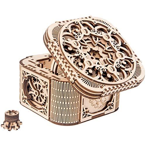 Holz Schmuckschatulle, DIY 3D Holzpuzzle Schatzkiste Schmuck Aufbewahrungsbox Kreative Mechanische Modell Valentinstag/Geburtstagsgeschenk