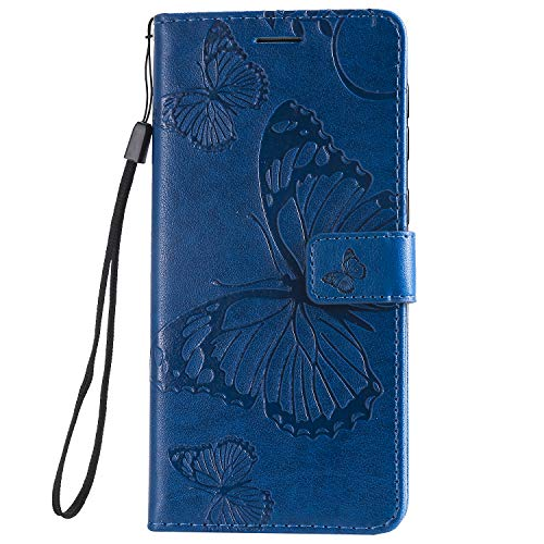 WIWJ Schutzhülle für Samsung Galaxy M30 Tasche Schmetterling - Blumen Muster 360 Grad Full Schutz Handy Hülle Buchstil Ledertasche Flip Wallet Case Notebook mit Kartenhalter Schale Etui,Blau