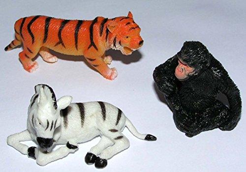 3 x Stretch Wildtiere (Tieger,Zebra,Gorilla) 5-10 cm Gummidesign Spieltiere Gummitiere spielen+sammeln Mitbringsel 5314 Stretch-zebra