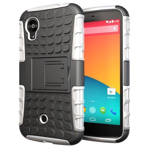 Etui ProteKtoR LG Nexus 5 16/32/64 Go (3G/Wifi/4G/LTE) blanc et noir avec stand - Housse coque de protection Silicone avec stand Google LG Nexus 5 - Prix découverte accessoires pochette XEPTIO case