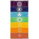 70cm * 150cm Regenbogen Stripes Schal Böhmen Wandbehang Decke 7 Chakra farbige Tapisserie Sommer Boho Strand Handtuch Yoga Mat (A)