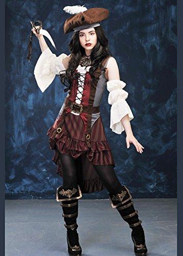 Magic Box Int. Castaway Piratenkostüm Damen braun XL (UK 16-18) (Castaway Fancy Dress Kostüm)