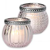 Charcasa Glas-Windlicht Teelichthalter in Rosé 2er-Set mit Streifen-, Rautenmuster