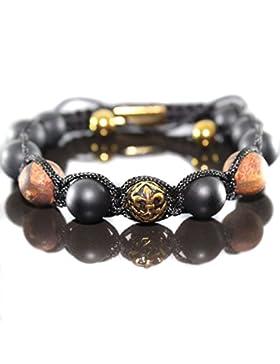 Herren Shambala Armband Armreifen Tibetische Achat braun Antik Gold Beads Männer verstellbar