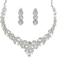 Regal con motivo a fiori e foglie in cristallo Swarovski con collana e orecchini pendenti a forma di principessa da sposa di nozze