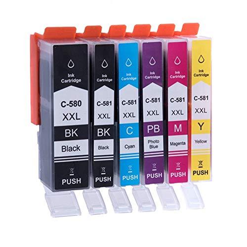 Pure-color Sostituzione per Canon PGI-580XXL CLI-581XXL Cartucce d'inchiostro compatibile per Canon PIXMA TS8150 TS8151 TS8152 TS8250 TS8251 TS8252 TS9150 TS9155 (1PGBK 1BK 1C 1M 1Y 1PB) 6 Pezzi