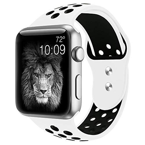 Cobar Watchband for Watch 38MM 40MM, Doppelfarben Multi-Löcher weiches silikon Schnellspanner Atmungsaktiv Armband Sportuhrband Ersatzband für lWatch Series 4/3/2/1/Nike+