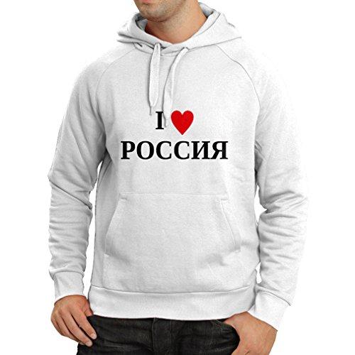 lepni.me Kapuzenpullover Ich liebe Russland, Moskau, politisch, Россия, Russisch (XXX-Large Weiß Schwarz)