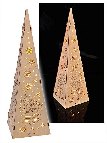 Markenlos 15 LED Weihnachtspyramide Holz Lichtpyramide Leuchtkegel Lichtkegel Weihnachten