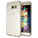 NALIA Handyhülle für Samsung Galaxy S7 Edge, Slim Silikon Motiv Case Hülle Cover Crystal Schutzhülle Dünn Durchsichtig, Etui Handy-Tasche Backcover Transparent Bumper, Designs:Mandala Weiß