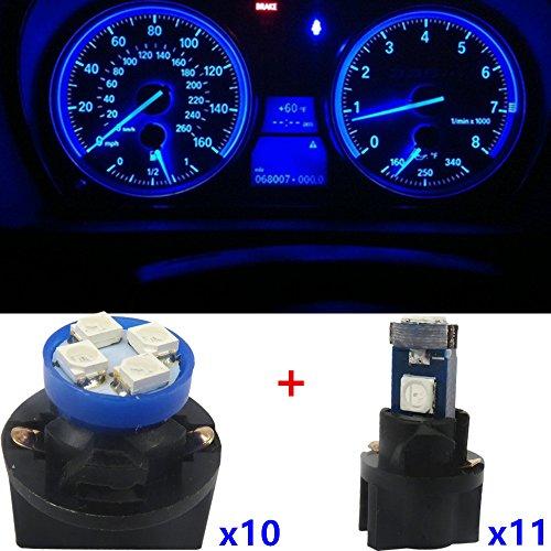 WLJH 21pcs T5 LED T10 Instrument lumière 2721 912 168 W5 W LED Jauge Compteur de vitesse Cluster Dash Indicateur ampoules d'éclairage kit de réparation pour 1991-1996 Cherokee