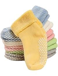 FEOYA - Lot de 6 Paires de Chaussettes Antidérapantes pour Bébé Fille Garçon en Coton Uni 1-3 Ans 12cm Hiver Cadeau