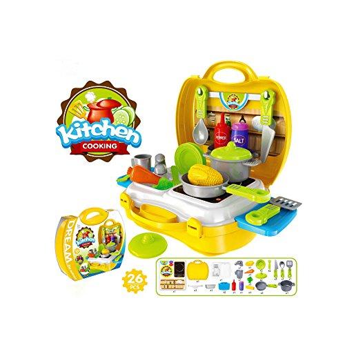 Buyger 26 piezas portatil Juguetes de plástico Cocina Juegos de rol utensilios para Niños Cocinar Alimentos Maleta