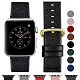 Fullmosa Compatible Apple Watch Bracelet 38mm/40mm(Serie 4) Cuir Véritable,Bracelet Apple Watch/iwatch Series 4 3 2 1,Nike+ Hermes & Edition,38mm 40mm Noir+Boucle Or+Adaptateur argenté