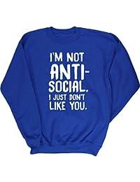 Hippowarehouse Anti-Social i Just Don't Like You Kids Children's Unisex Jumper Sweatshirt Pullover
