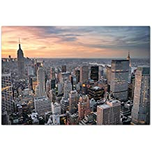 120x80cm - Fotodruck auf Leinwand und Rahmen New York Skyline Sonnenuntergang - Leinwandbild auf Keilrahmen modern stilvoll - Bilder und Dekoration