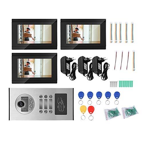 ASHATA WLAN Video Türsprechanlage, 7 Zoll LCD Monitor Türklingel Gegensprechanlage System,WiFi Türklingel Intercom System 3-Familien IR-Nachtsicht Video Türsprechanlage mit RFID Karte APP(EU) (Intercom-wifi)