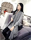 Autumn and Winter Classic Women Black and White Houndstooth Scarf Edge Warm All Match Cashmere Shawl , Houndstooth