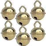 Glöckchen Gold (Goldene farbe) - X 6 Glöckchen schellen 15mm – schön laut sound (nicht rostend) - Mehr als 16 farben in 3 Größen (Glöcken Kugeldurchmesser 15 mm, 24 mm, 35 mm) – Glöckchen zum basteln, kreatives Gestaltenbaby, kinder, senioren : musikalischen Früherziehung, deko, Schlüsselanhänger, Hochzeit, fußballfanartikel, Haustiere …