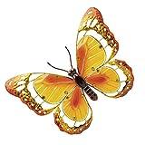 THOMPSON & MORGAN Große Metallgarten-Wandkunst mit Bunter Glasdekoration Orange Schmetterling