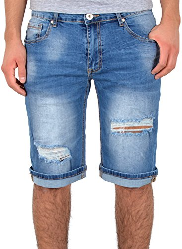 by-tex Herren Jeans Shorts kurze Bermuda Shorts Used Look kurze Hose Basic Jeans Shorts AS431