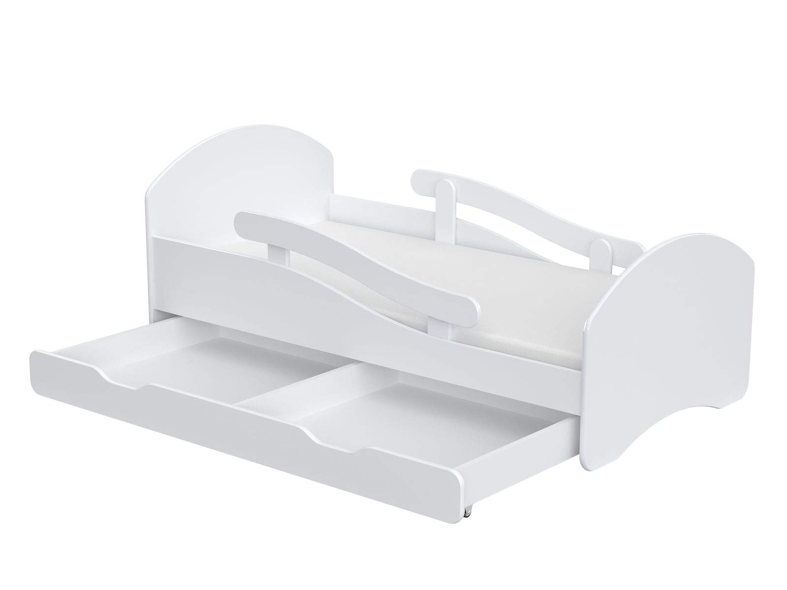 ChildrensBeds Home Single Bed Oscar For Kids Children Toddler Juniors With Drawers and 6 cm Foam Mattress Included (White - Blue, 180x80) Children's Beds Home Bed with barriers - internal dimensions 140x70, 160x80, 180x80 (External dimensions: 145x76, 165x86, 185x86) Height to top of the bed frame at lowes point is 27 cm. Bed frame with load capacity of 100 kg, Fittings + installation instructions Universal bed entrance - right or left side, front barriers can be easily removed during the day and put back at night 3