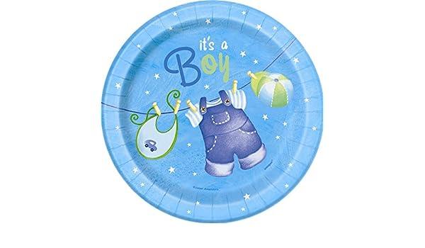 8 Einwegteller Geburt Junge Blau Storch It/'s a Boy Baby Shower Party Papp Teller