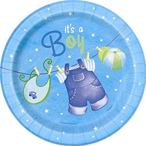 18cm blau Schirmhaspel Baby Dusche Party Teller, 8Stück