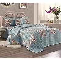 مجموعة لحاف صيفي بتصميم مزدوج الأوجه ورقيق للغاية بنمط الأزهار، تتضمن مجموعة سرير 4/6 قطع King Size