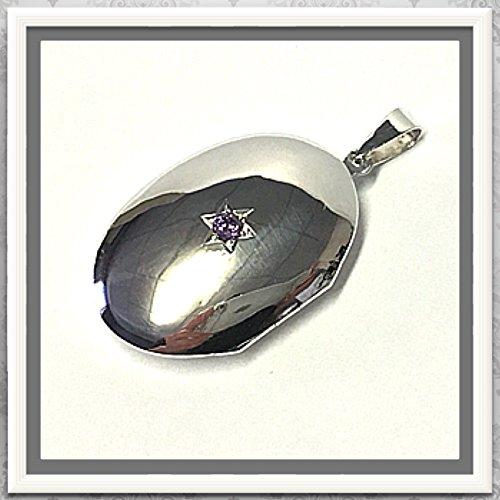 Medaillon 925 Silber mit lila Zirkonia - poliert - 2 Fotos (2 Fotos Medaillons)