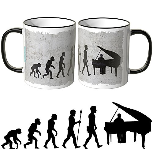 JUNIWORDS Tasse - Wähle Motiv & Farbe -Evolution Piano - Schwarz