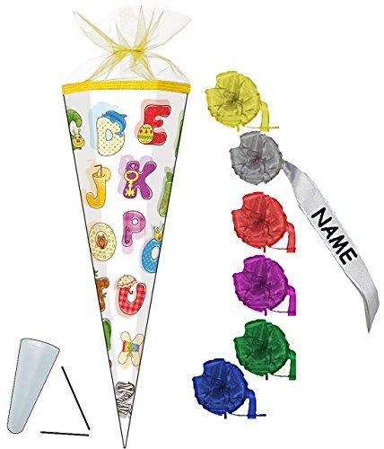 """Preisvergleich Produktbild Schultüte - """" buntes ABC - Alphabet """" - 35 cm - rund - incl. individueller SCHLEIFE - mit NAMEN - mit Tüllabschluß - Zuckertüte - Nestler - mit / ohne Kunststoff Spitze - für Jungen & Mädchen - lustige bunte Buchstaben lernen - Buchstabe lesen üben / Schultüten - Geschenktüte - Schulanfang - Schulbeginn - personalisiert - Namenswunsch"""