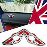 MINI COOPER 2 X DOOR LOCK PIN KNOB EMBLEM BADGES STICKER SET OF 2 (Union Jack Red)