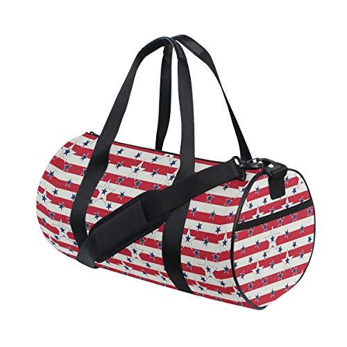 MATEKULI Neue Sporttasche mit Leinwanddruckzylinder,Patriotisches Muster Liebe Mein Land Kontinent American Federal Freedom Image,Fitnesstasche mit Reisetasche