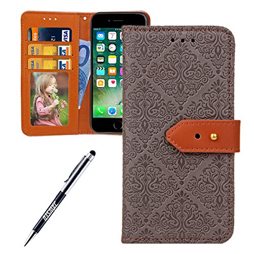 JAWSEU Coque Etui pour iPhone 6 Plus/6S Plus 5.5,iPhone 6S Plus Leather Case with Strap,iPhone 6 Plus Etui en Cuir Folio Flip Wallet Cover Case,2017 Neuf Style Femme Homme Up and Down Unlock Holster R Gris clair*