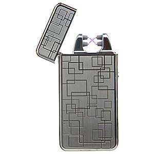Padgene Briquet Double Arc Electrique Sans Flamme Rechargeable USB Anti Vent, Argent