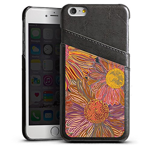 Apple iPhone 5s Housse Outdoor Étui militaire Coque Tournesol Rouge Motif Étui en cuir gris