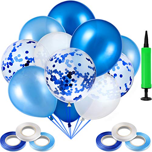 Zonon 90 Stücke Latex Luftballons Konfetti Luftballons mit 6 Rollen Luftballons Bänder und Luftpumpe für Hochzeit Baby Duschen Party Dekoration Lieferungen (Hellblau, Blau und Weiß)