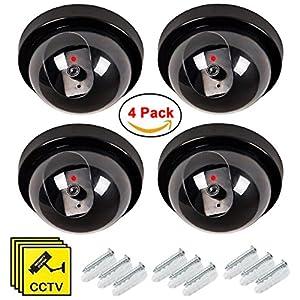 camaras de vigilancia pequeñas y baratas: Maxesla 4 Pieza Cámara Falsa Dummy Cámara de Seguridad Vigilancia Falsa LED Parp...