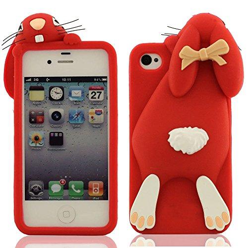 Weiche Soft Prämie Silikon Gel Protective Case Schutzhülle Hülle für Apple iPhone 4 iPhone 4S iPhone 4G Schöne Nette Rabbit Kaninchen Entwurf Serie 3D Modellieren - Braun Rot
