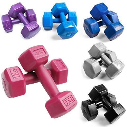 BESTIF Hanteln Set für Frauen Hexagon Hantel Gewichte Damen | Dumbbell | Kurzhantel-Set aus Kunststoff | 2 Stück | Gewicht und Farbenauswahl 1 - 4 kg | Fitness Gymnastik Aerobic (Lila 2x2kg)