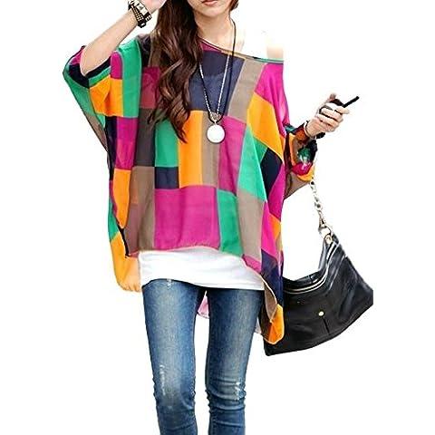 MWS1143 SHAPES Blusa de talle ancho hecho de gasa y con estampado de colores - Moda femenina para la mujer